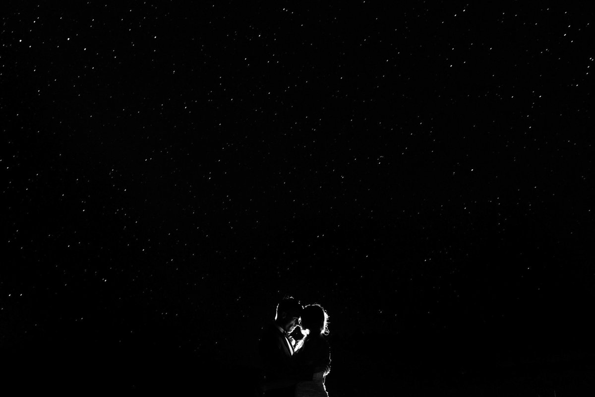 Long exposure night photography with bride and groom at Flagstaff Arboretum