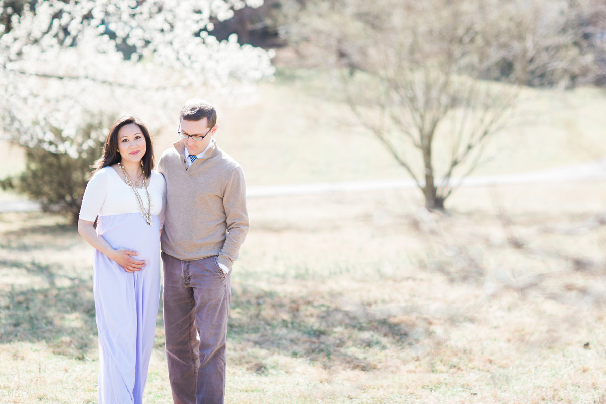 Virginia Maternity Photographer | Chelsea Schaefer Photography | Spring Maternity Session |  smiling at camera