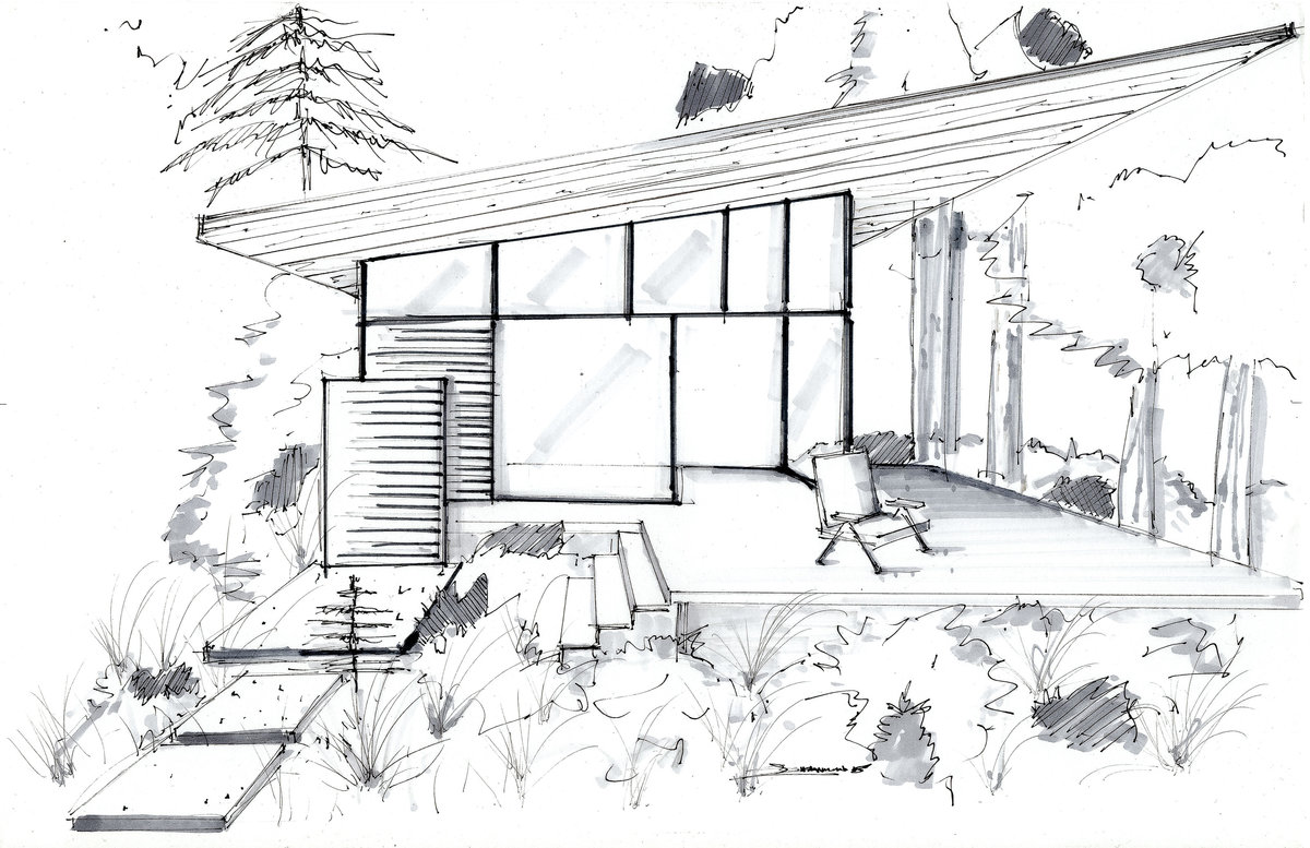 Lake House Hand Rendering - Shannin Williams