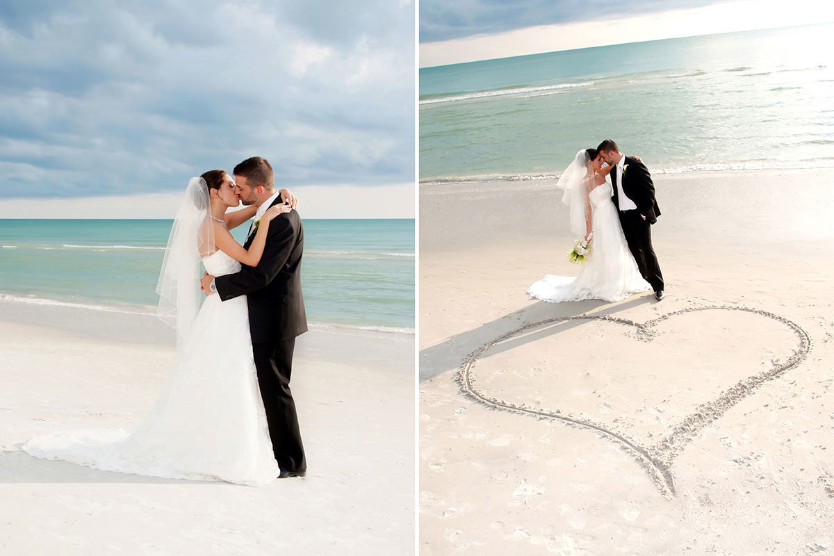 laplaya naples florida wedding heart in sand