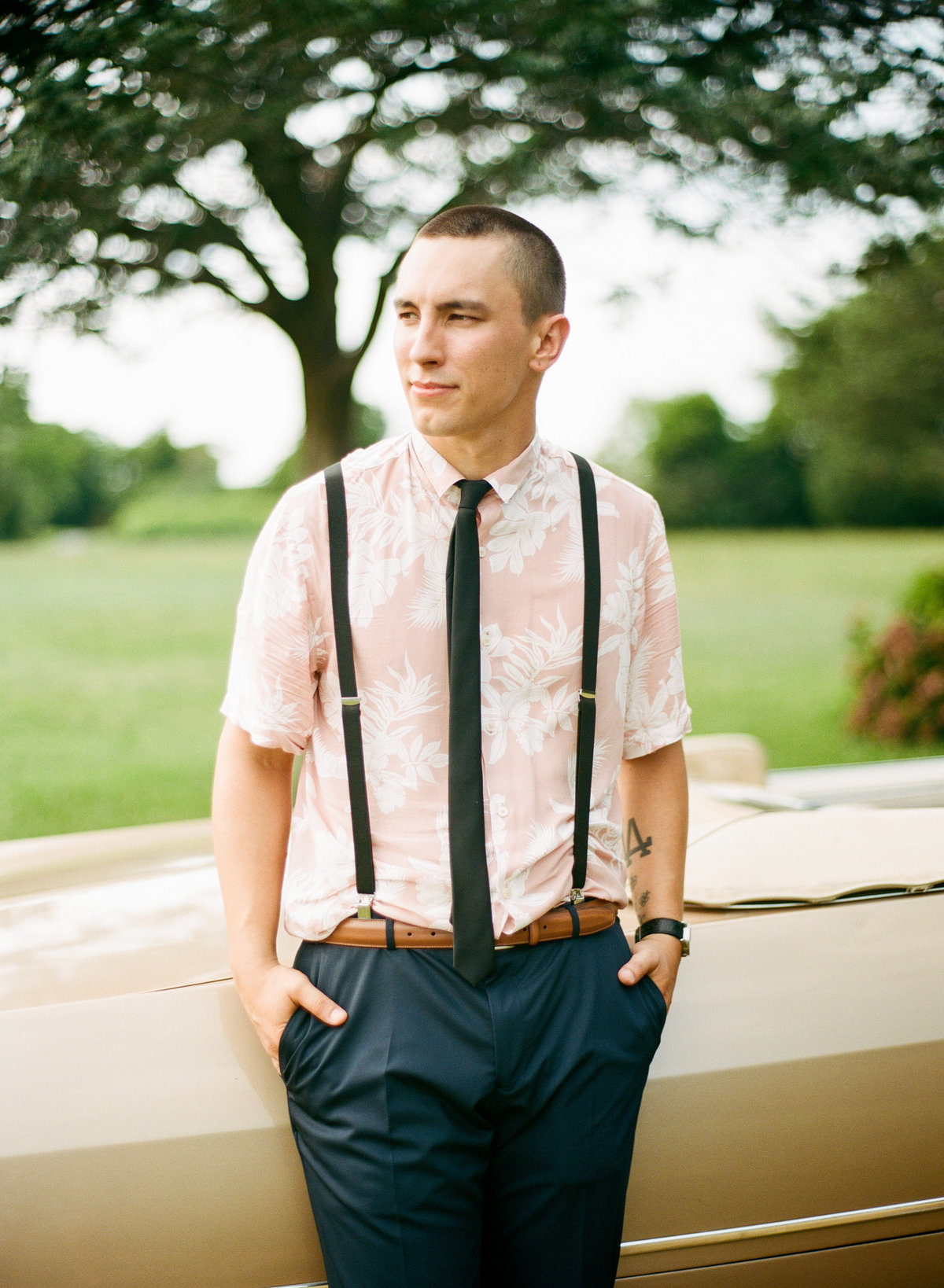 cape cod backyard wedding groom in tropical shirt