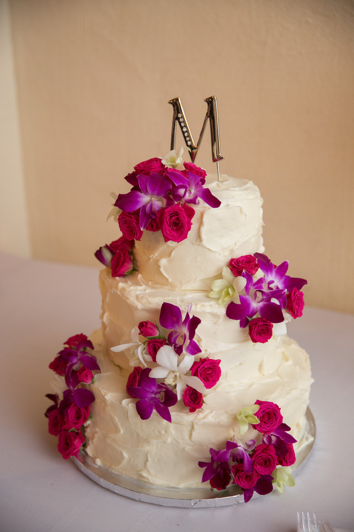 River Rock Event Center Texas Wedding Cake monogram fresh flowers