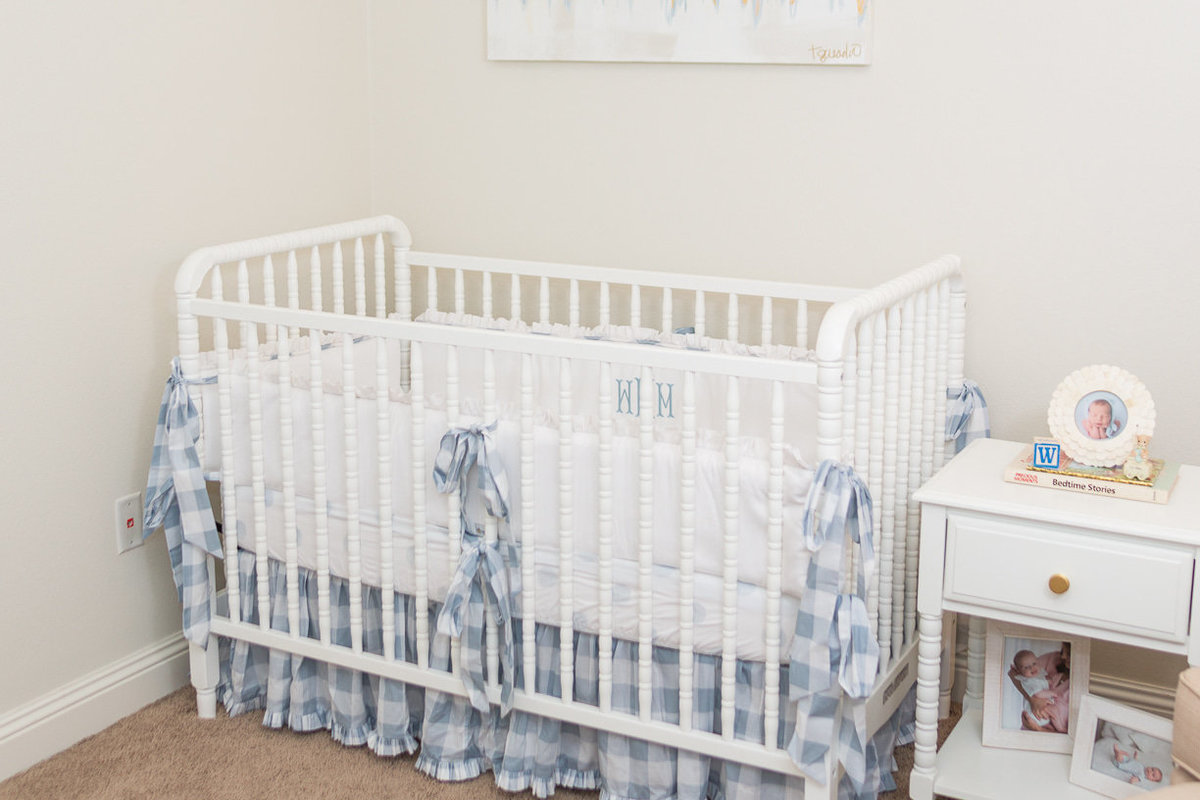blue and white check crib bumpers | Toni Goodie Photography