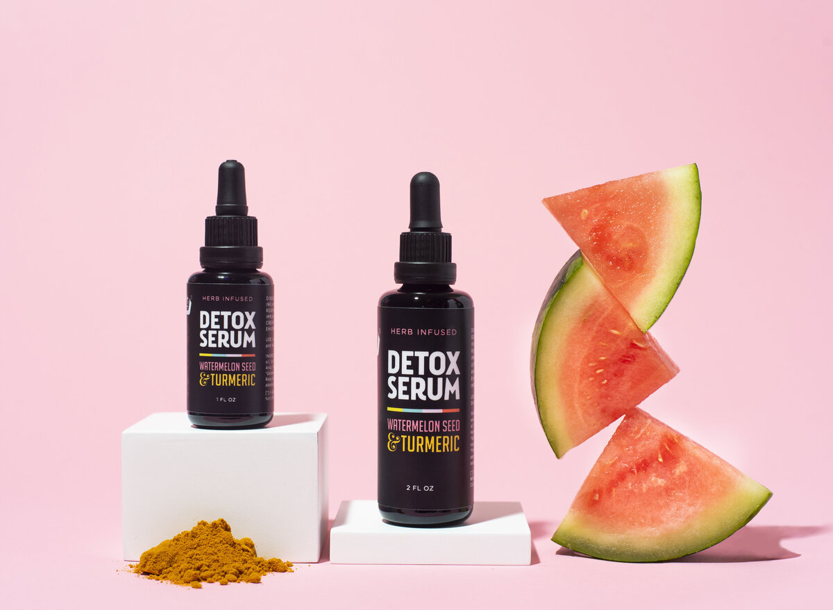i dig your hair product photography with watermelon and turmeric