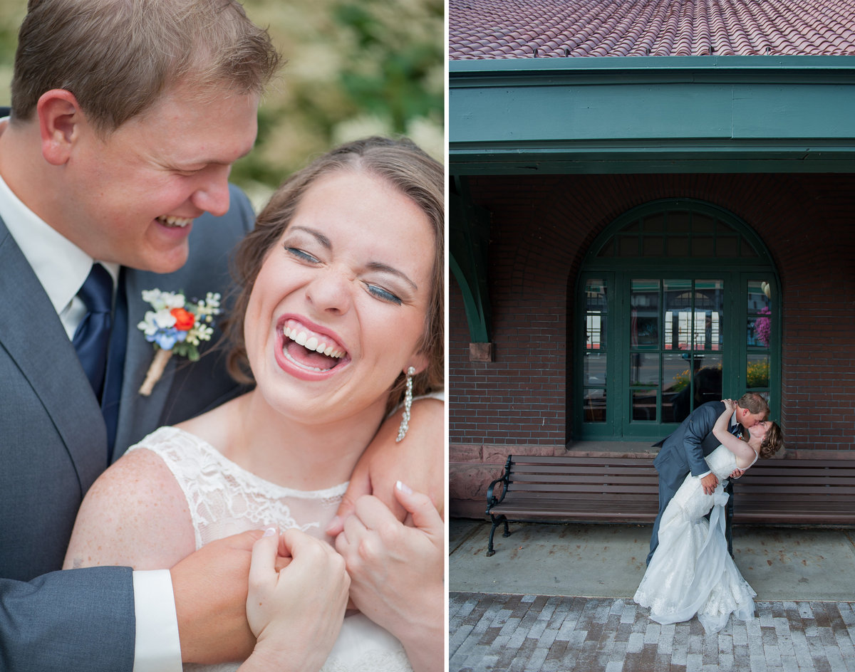 Bride and groom laughter at the train depot photographed by kriskandel.com