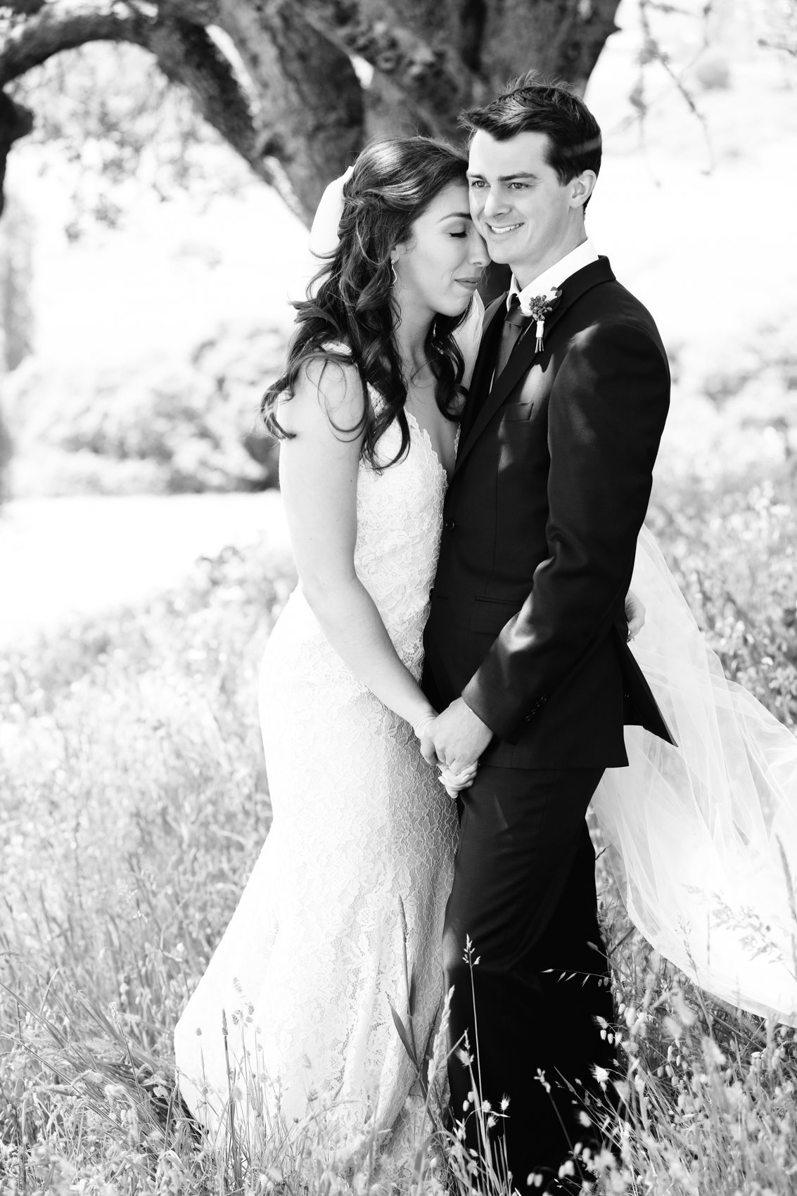 Napa Valley Wedding Photography, Black and White of the Bride and Grooms First Look