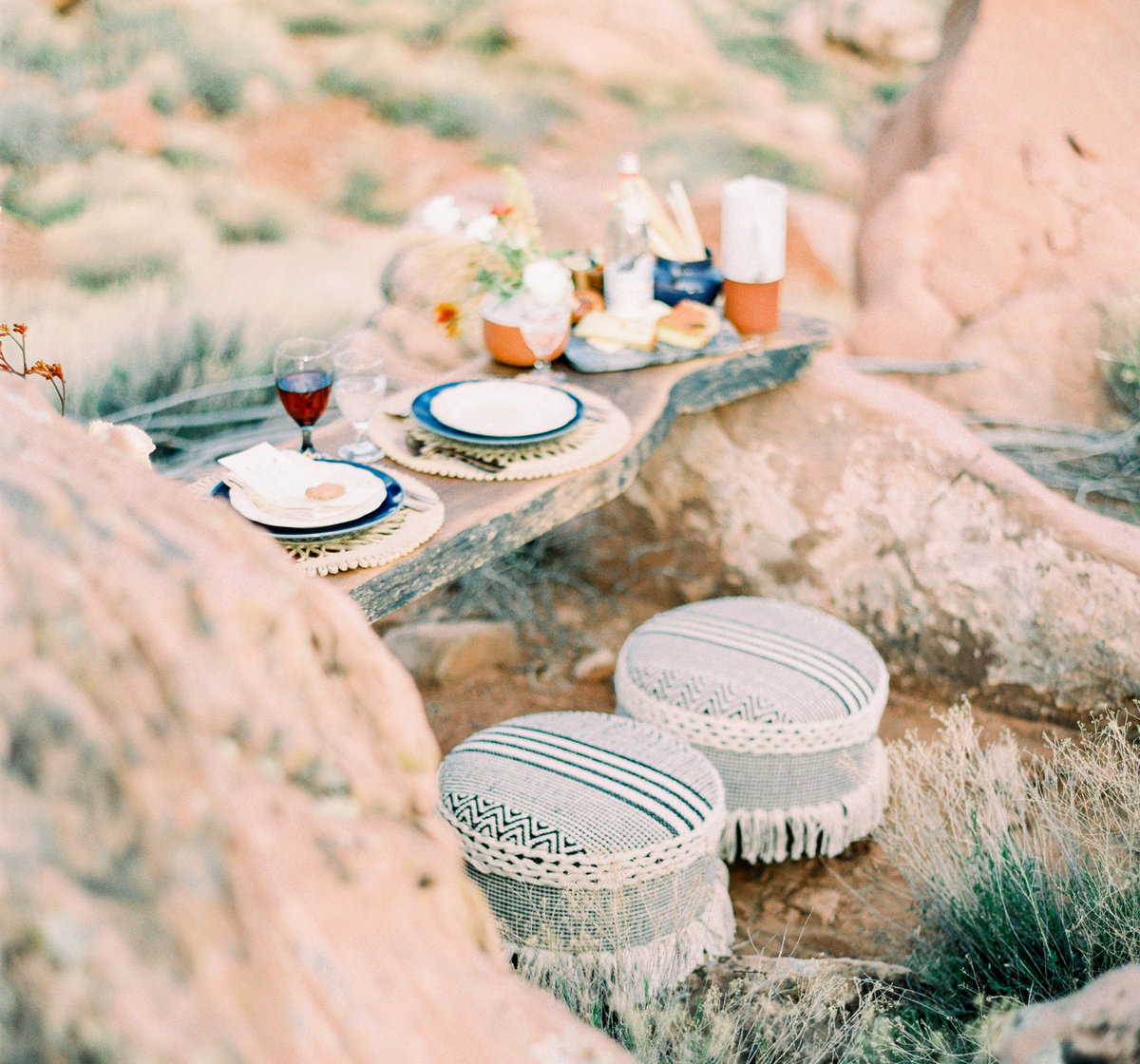 Wood slab table for intimate elopement dinner at Under Canvas in Zion National Park