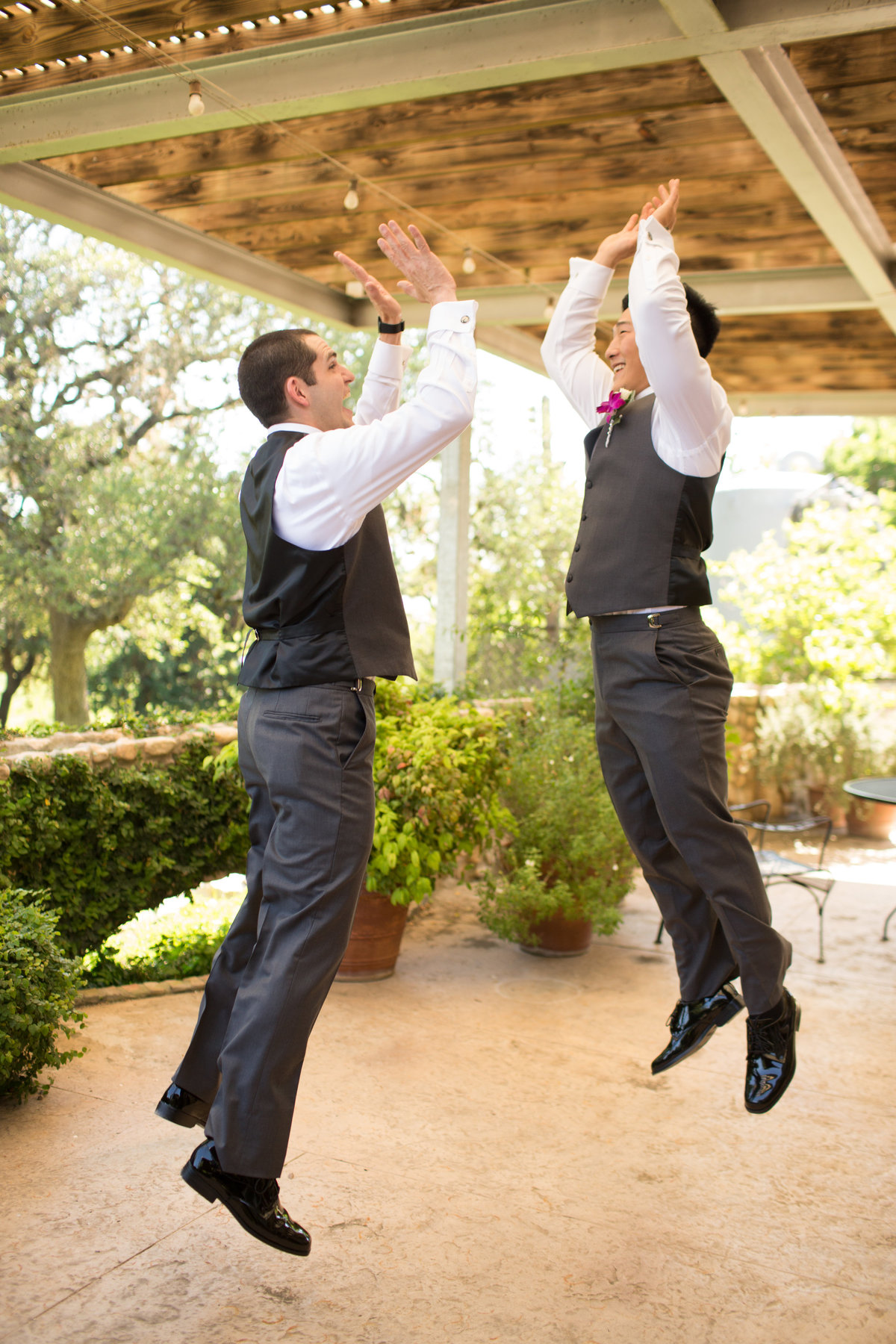 River Rock Event Center Texas  Groom High Five Jump