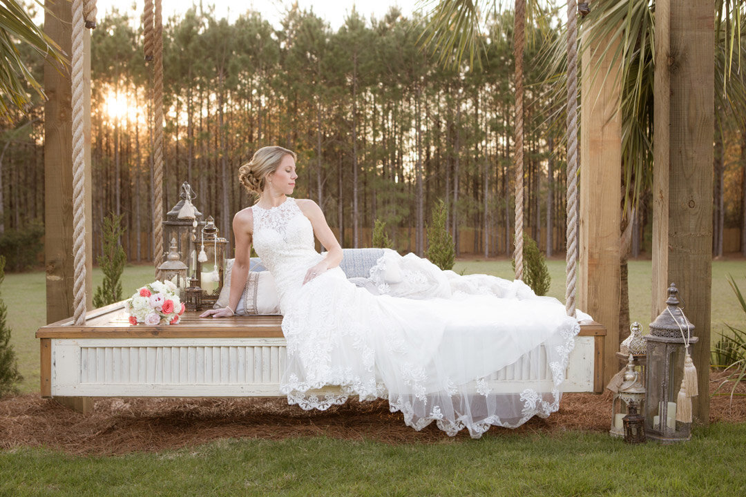 Rachel poses for a bridal photo at Bella Sera Gardens in Loxley, Alabama.