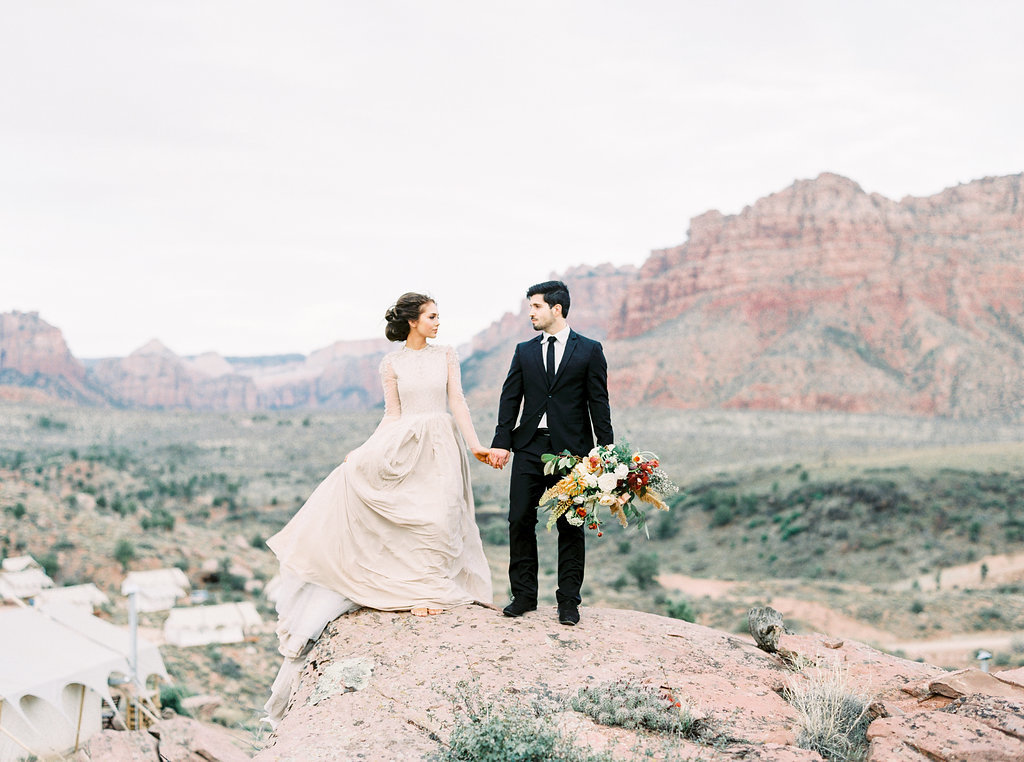 Bride and groom elopement at Under Canvas Zion National Park