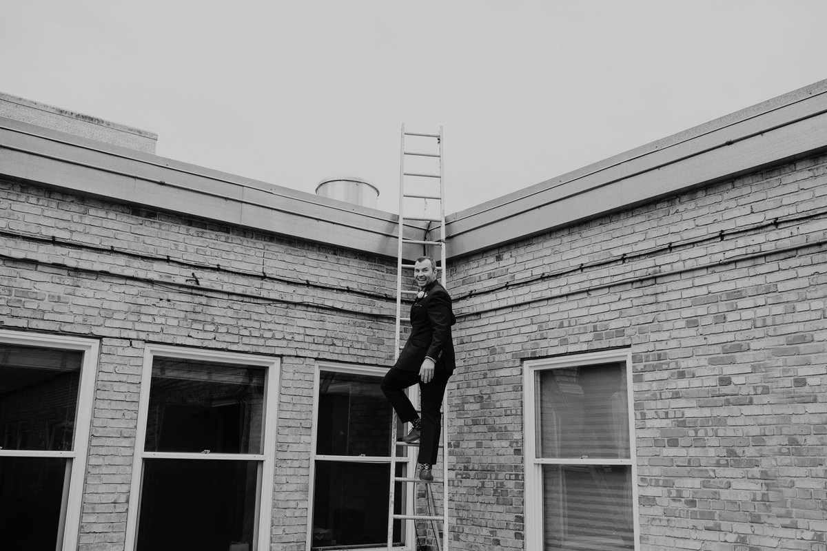 Groom Climbing Ladder