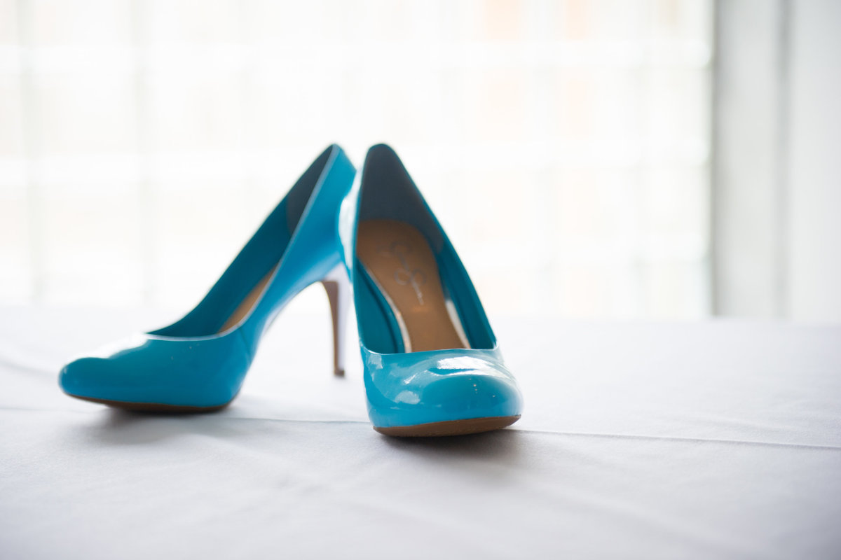 Brides shoes, blue, wedding day, Prairie Production, Chicago IL.
