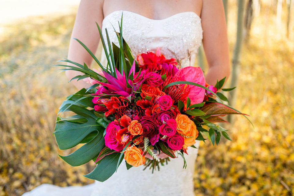 granby-colorado-Strawberry-Creek-Ranch-Wedding-Ashley-McKenzie-Photography-tropic-meets-mountain-wedding-colorful-amazing-bridal-bouquet