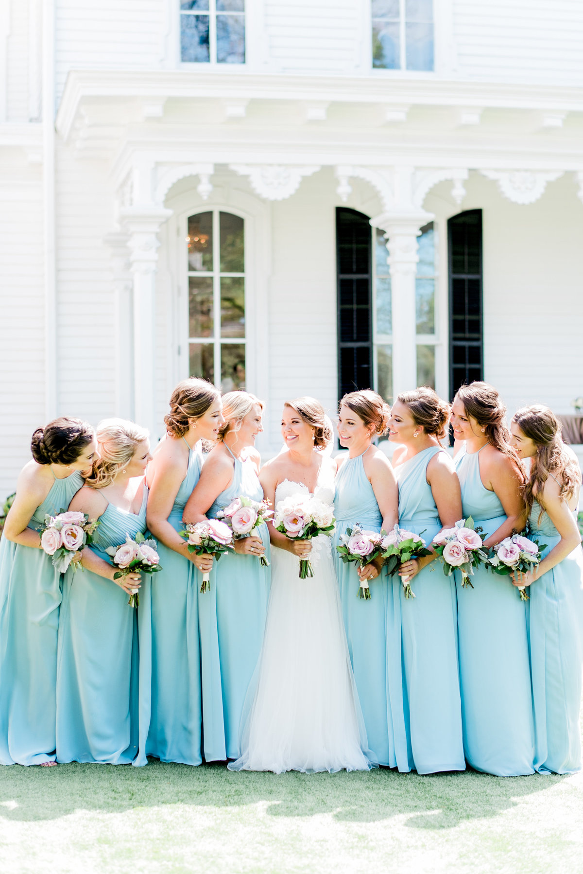 bridesmaids in light blue photo