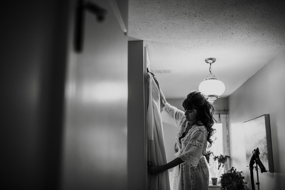 Bride getting ready before her New Years Eve wedding.