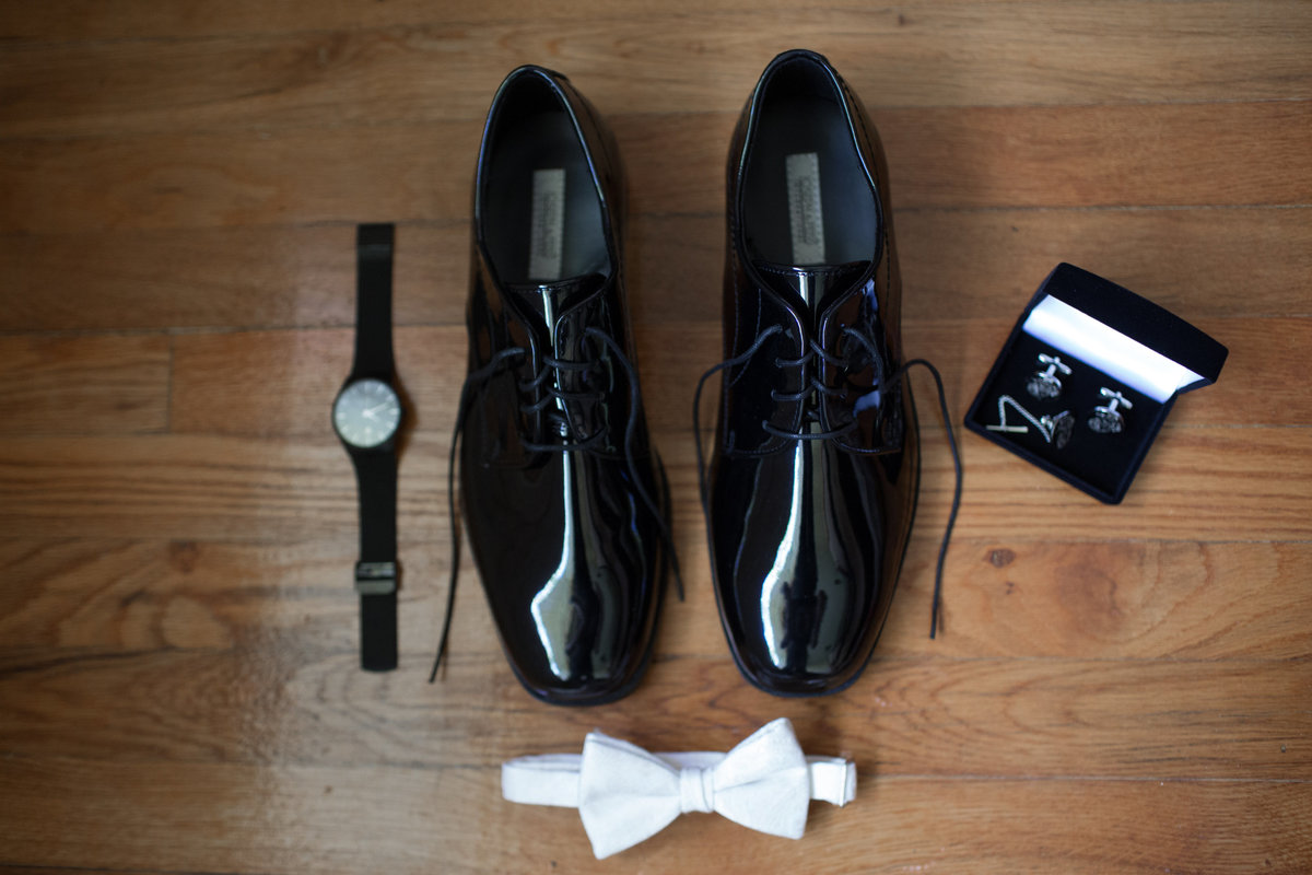 groom's accessories shoes watch bow tie
