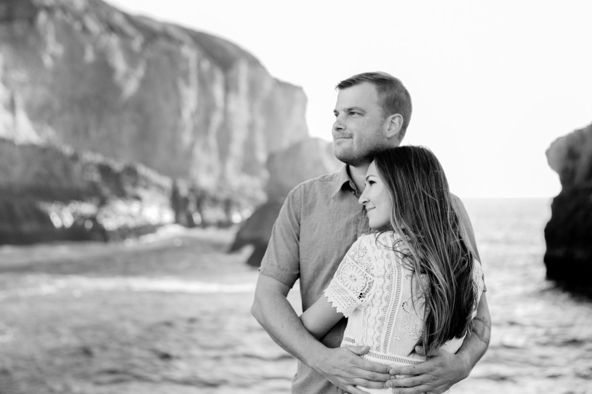 Shark Fin Cove Beach in Davenport California Engagement Photography