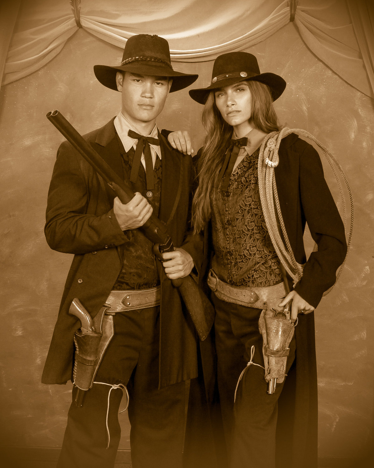 old fashioned photography, western photoshoot