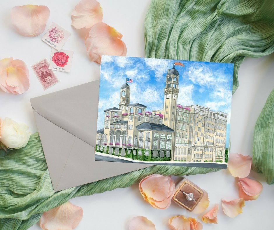 Custom save the dates featuring a painting of The Jefferson Hotel, a wedding venue in Virginia