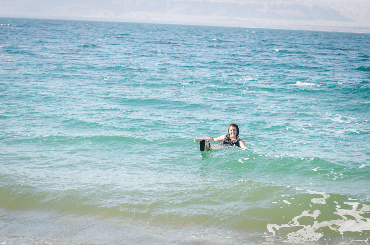 Jill floats in the dead sea
