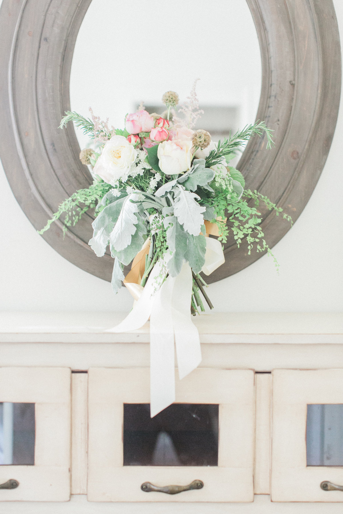 Peonies and Dusty Miller Bridal Bouquet
