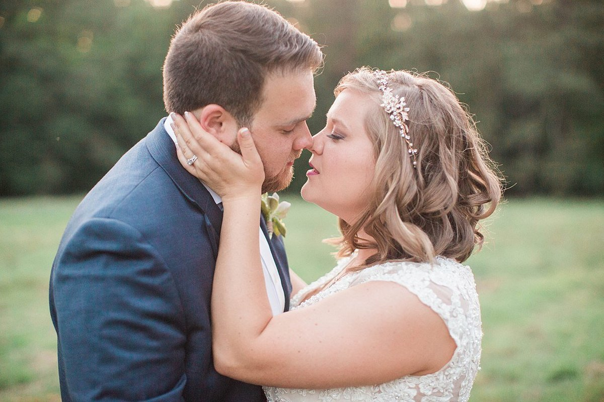 couple just before they kiss rustic wedding north carolina