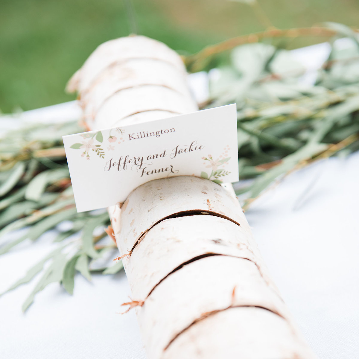 wedding placecards with birch and greenery