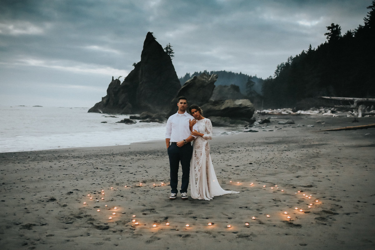 Candlelit ceremony of this bride and groom on Rialto Beach in Olympic National Park.