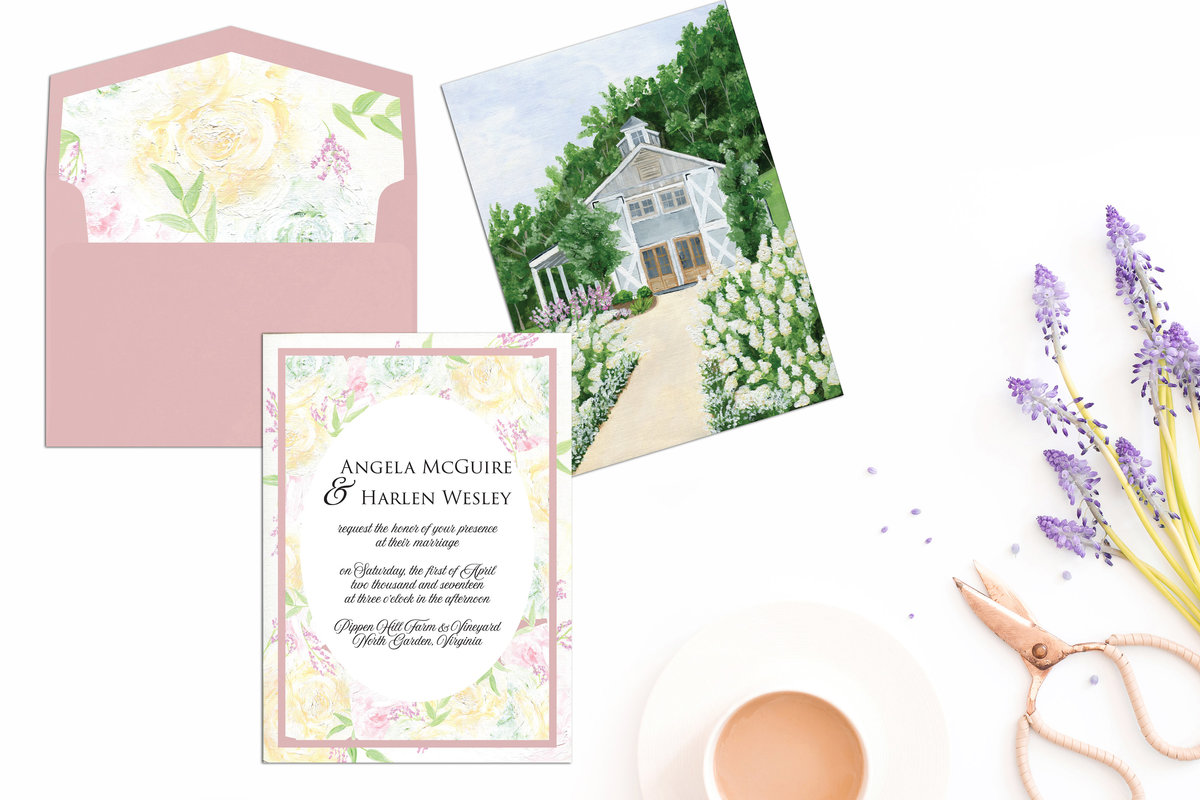 By Brittany Branson Pippin Hill Winery hand painted Virginia wedding stationery