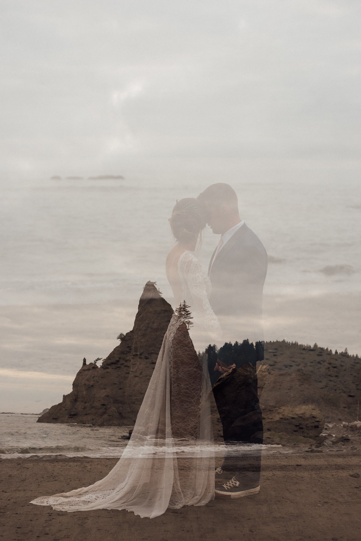 Double exposure of bride and groom in La Push Washington in the Olympic National Park