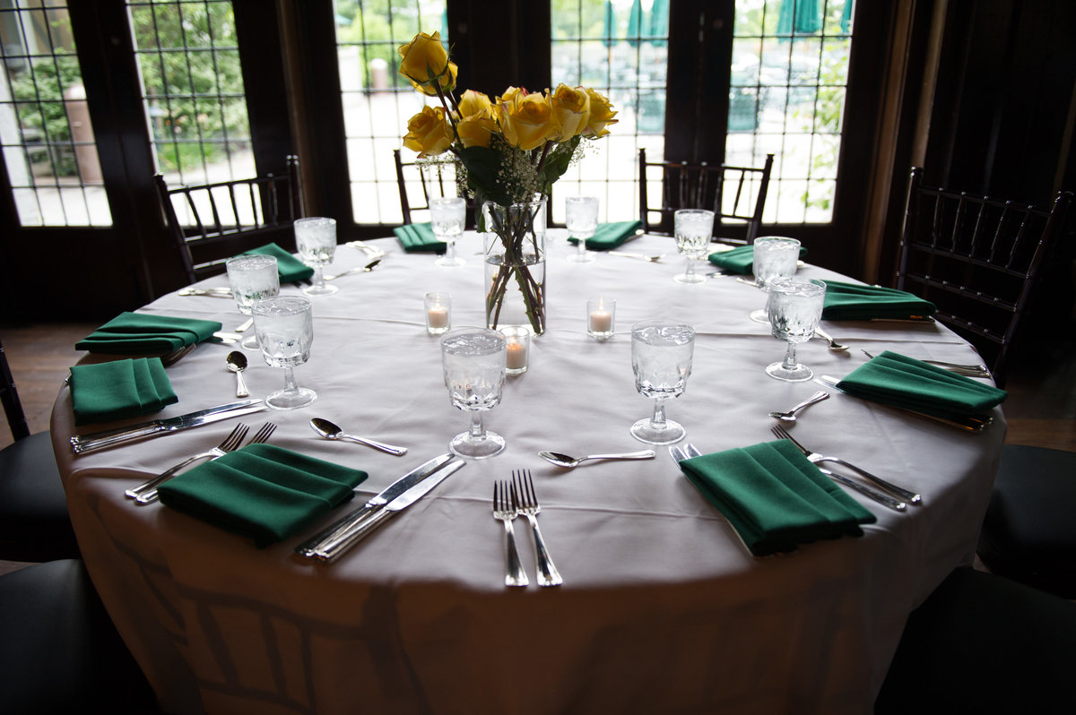 Table setting prior to Chicago fundraising event.
