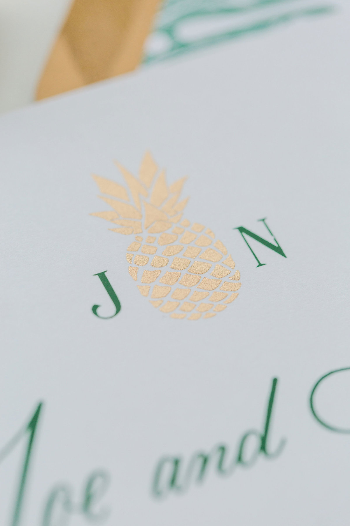 Closesup detail of gold ink pineapple on wedding inviations
