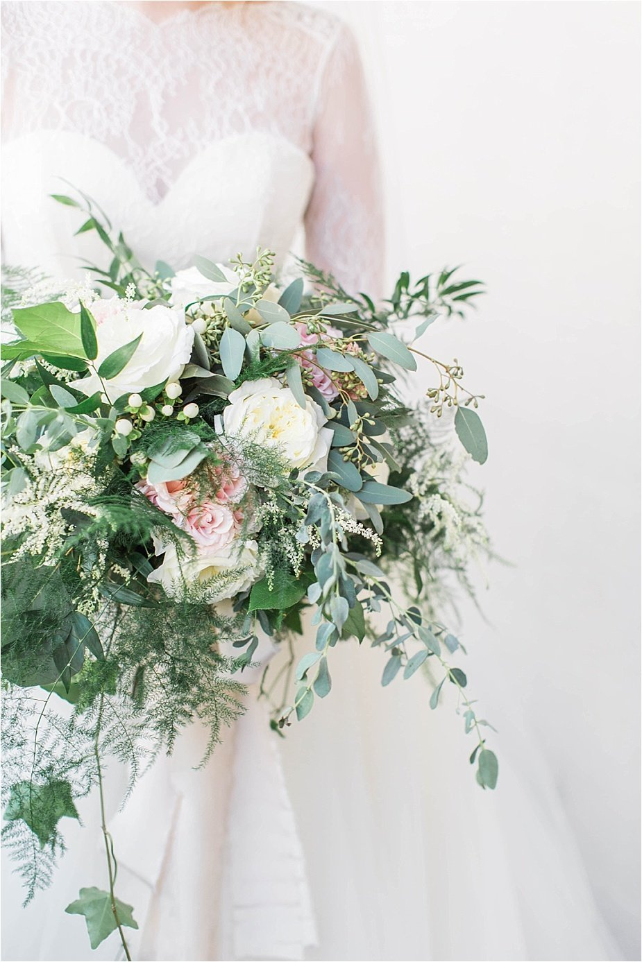 Greenery Wedding Bouquet with Garden Roses