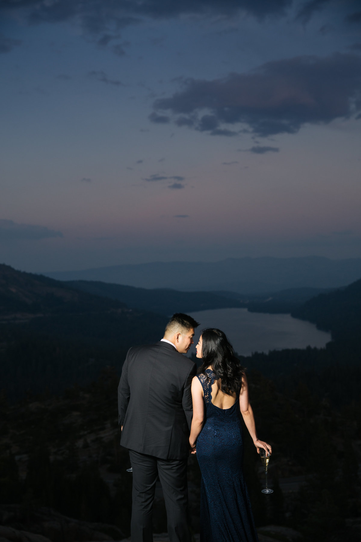 Sunset engagement session Donner Lake Ca