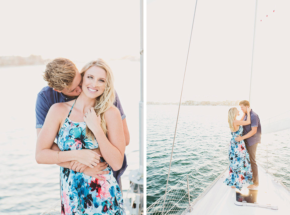 engagement photos on a sailboat