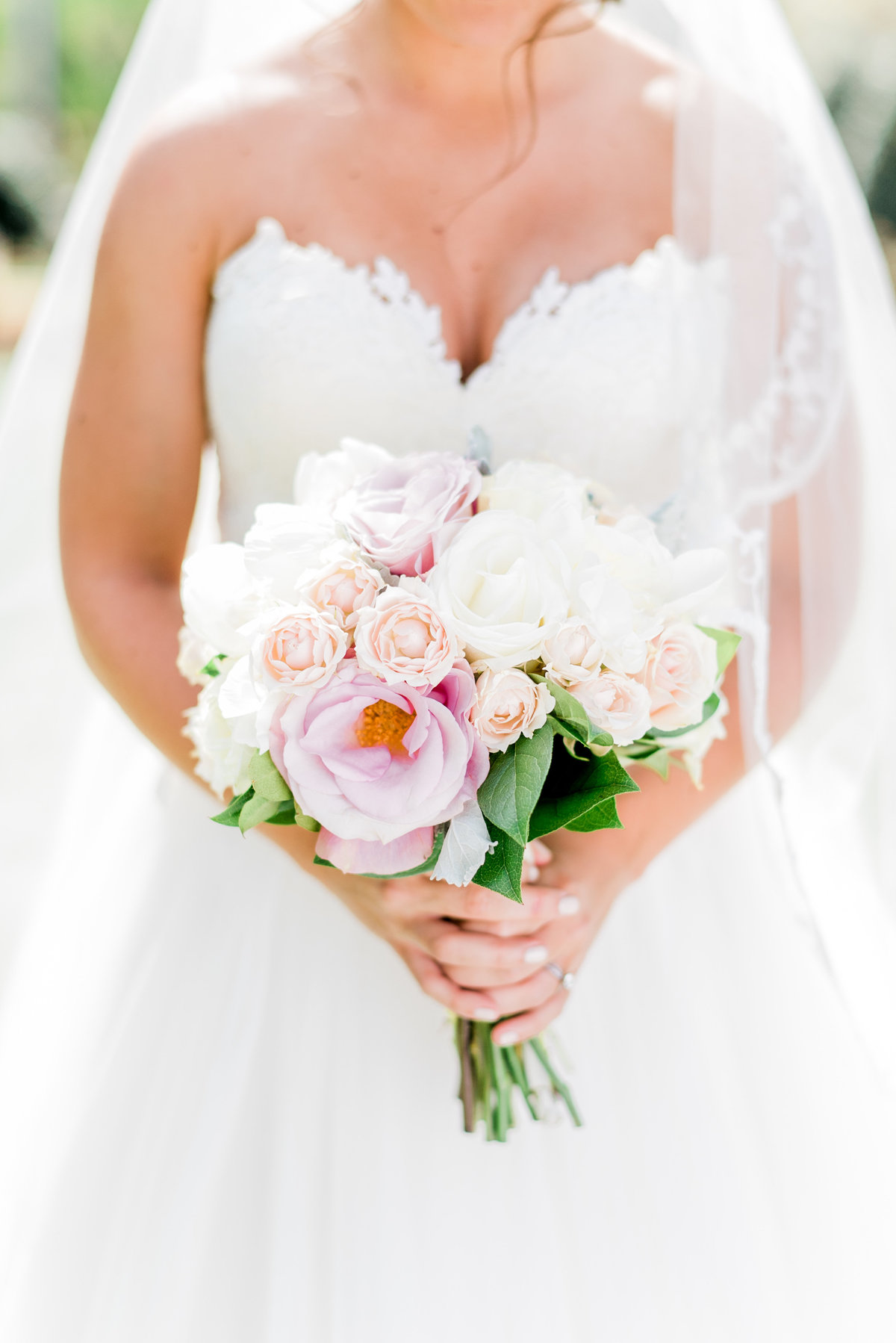 white and peony bridal bouquet photo