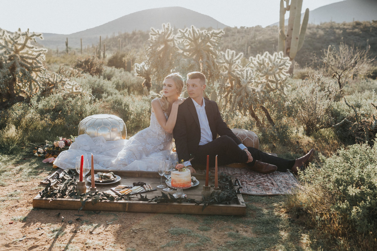 Elopement picnic in the desert of Phoenix Arizona