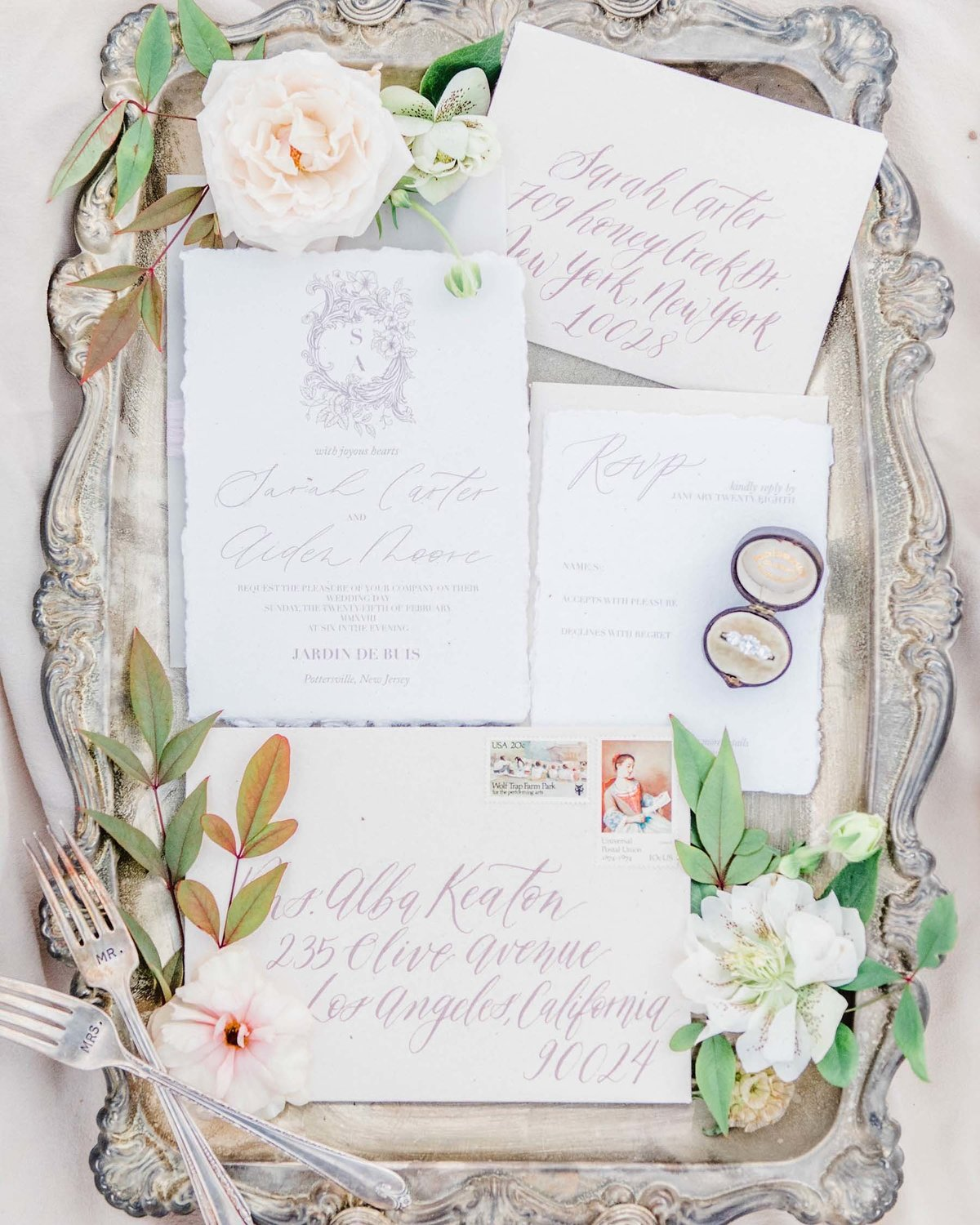 Plume & Fete collections timeless and sophisticated wedding invitation suite