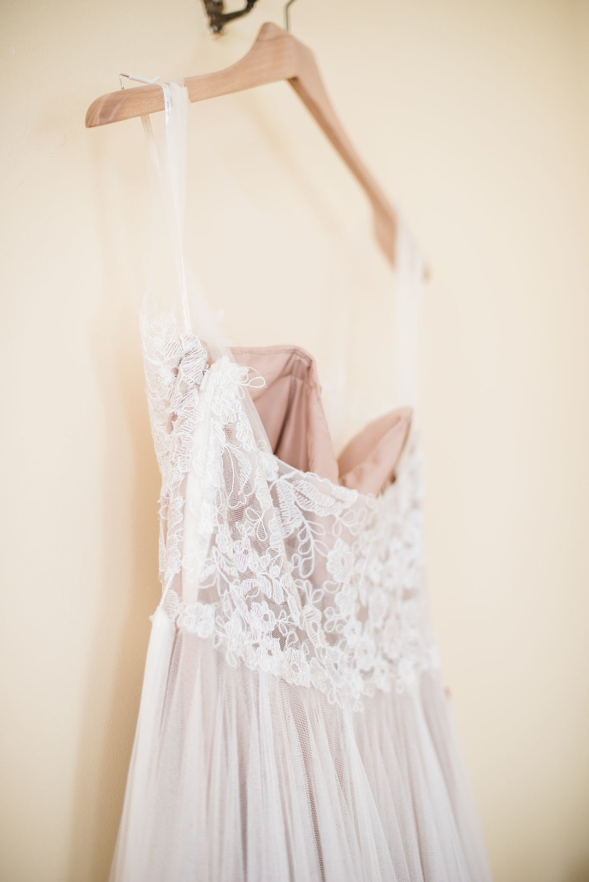 BHLDN wedding dress, taupe lace wedding gown