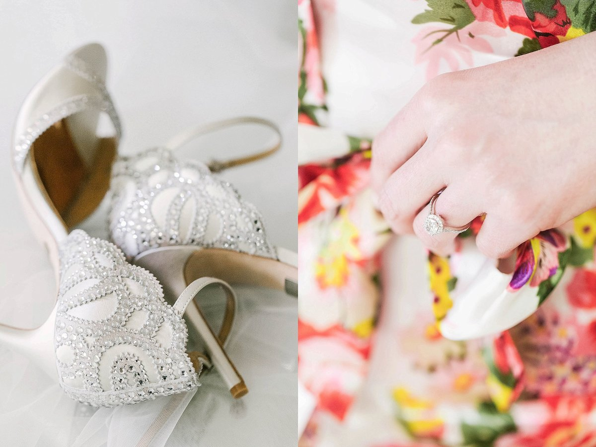 wedding day details bridal shoes engagement ring