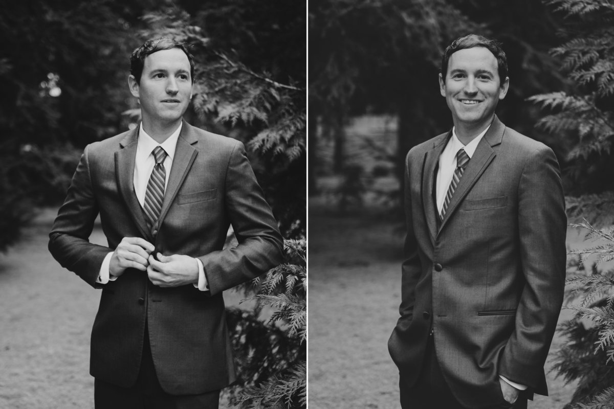 Black & white portrait of a groom getting ready on his wedding day | Susie Moreno Photography