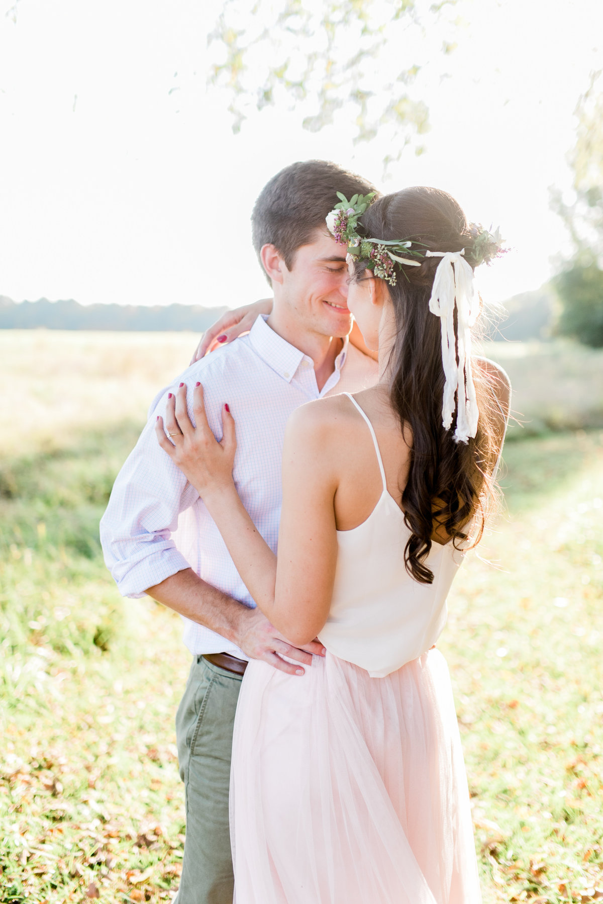 flower crown engagement photo
