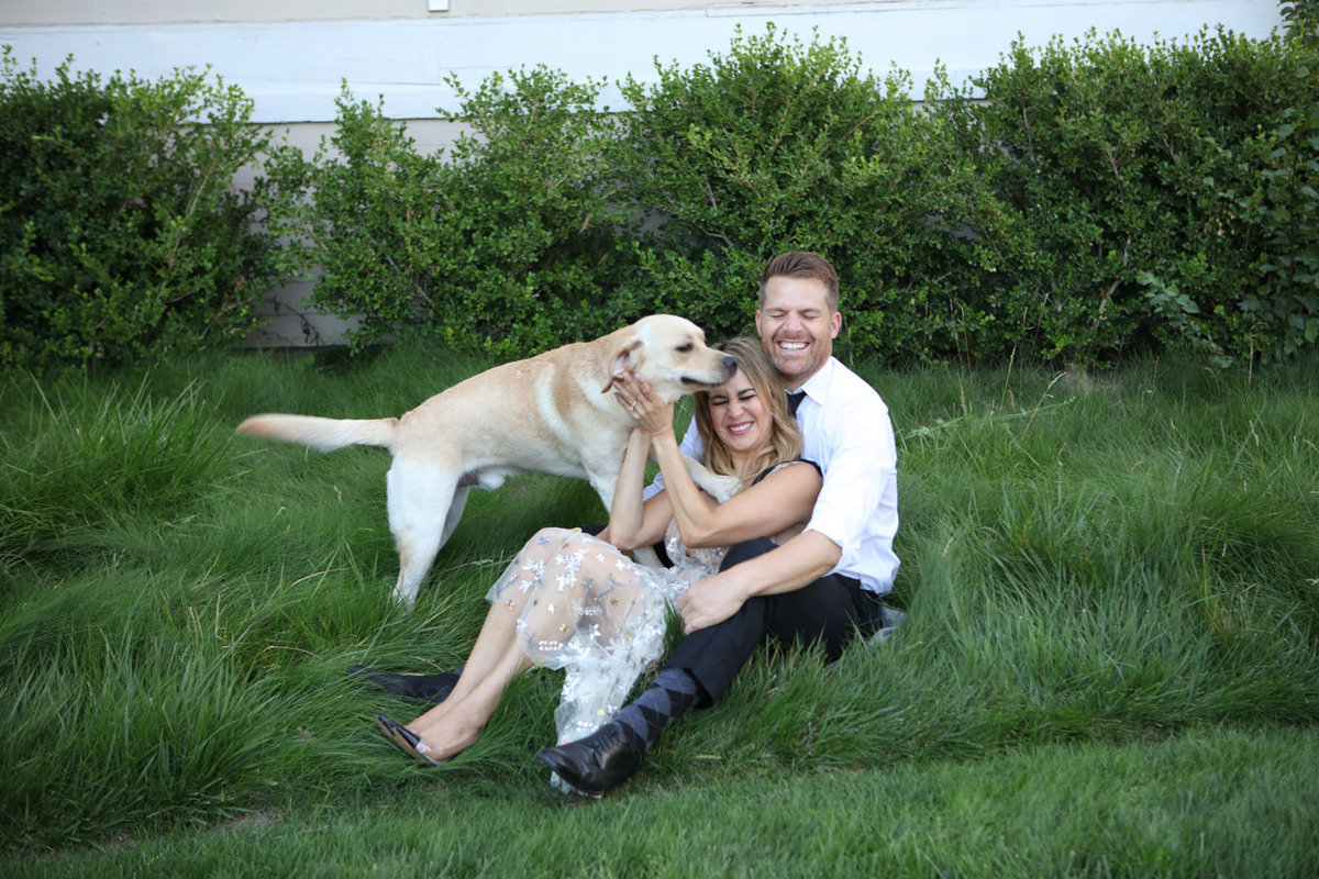 Engagement photo session in menlo parl, young couple with dog