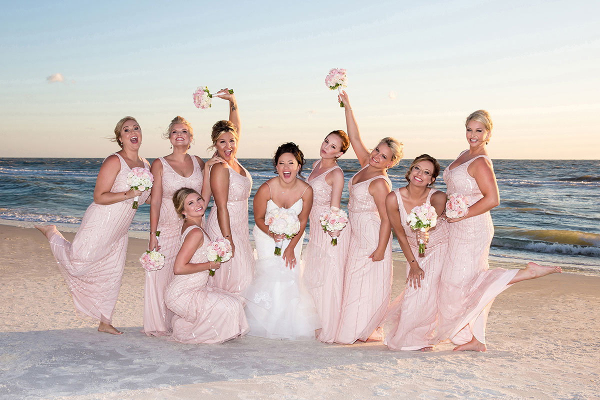 bridesmaids on beach vintage bridesmaid dresses laplaya