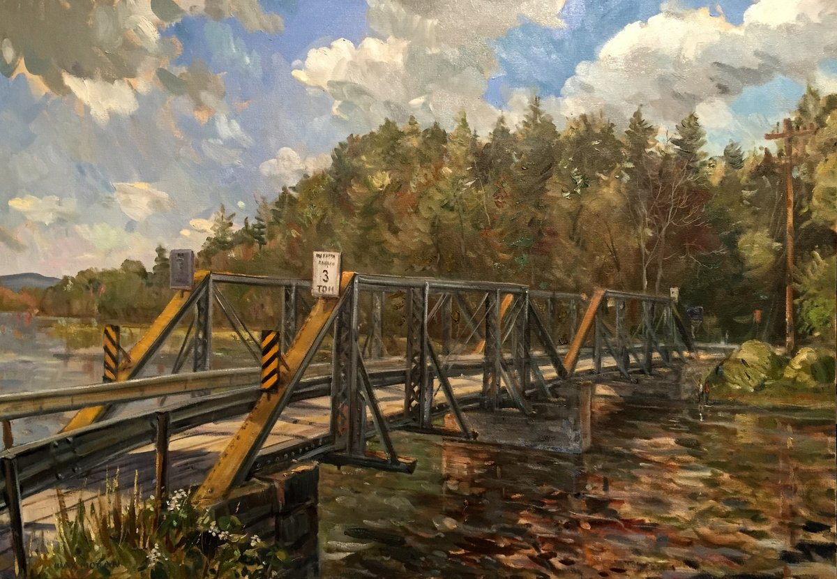 Schroon River Bridge, Adirondack Mountains, NY 32X46 ooc 7,500