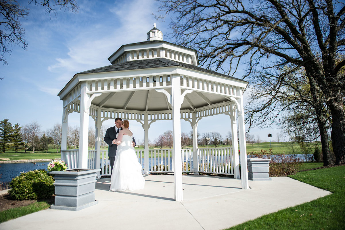 Bride and groom under gazebo, wedding day, Chicago IL.