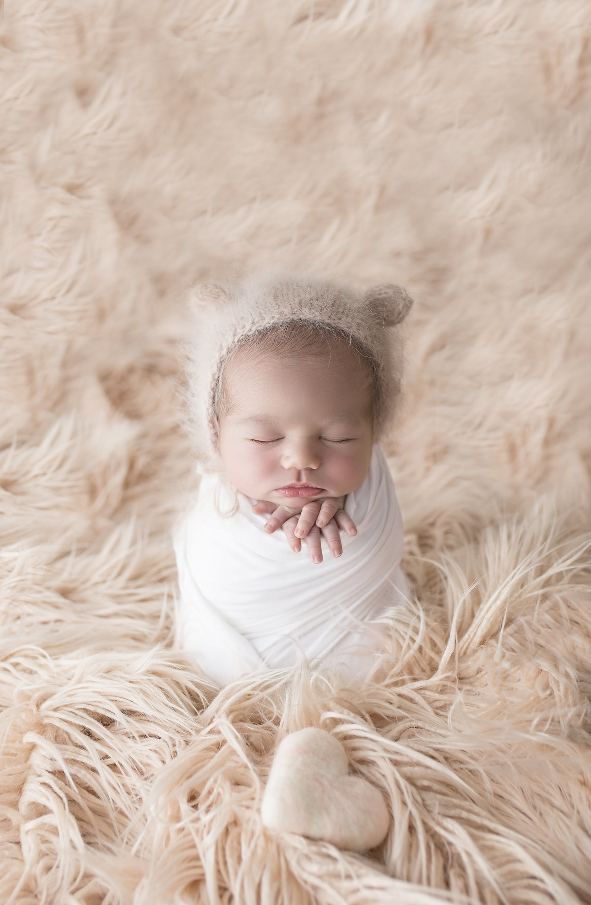 newborn baby girl bear ears bonnet pink potato sack