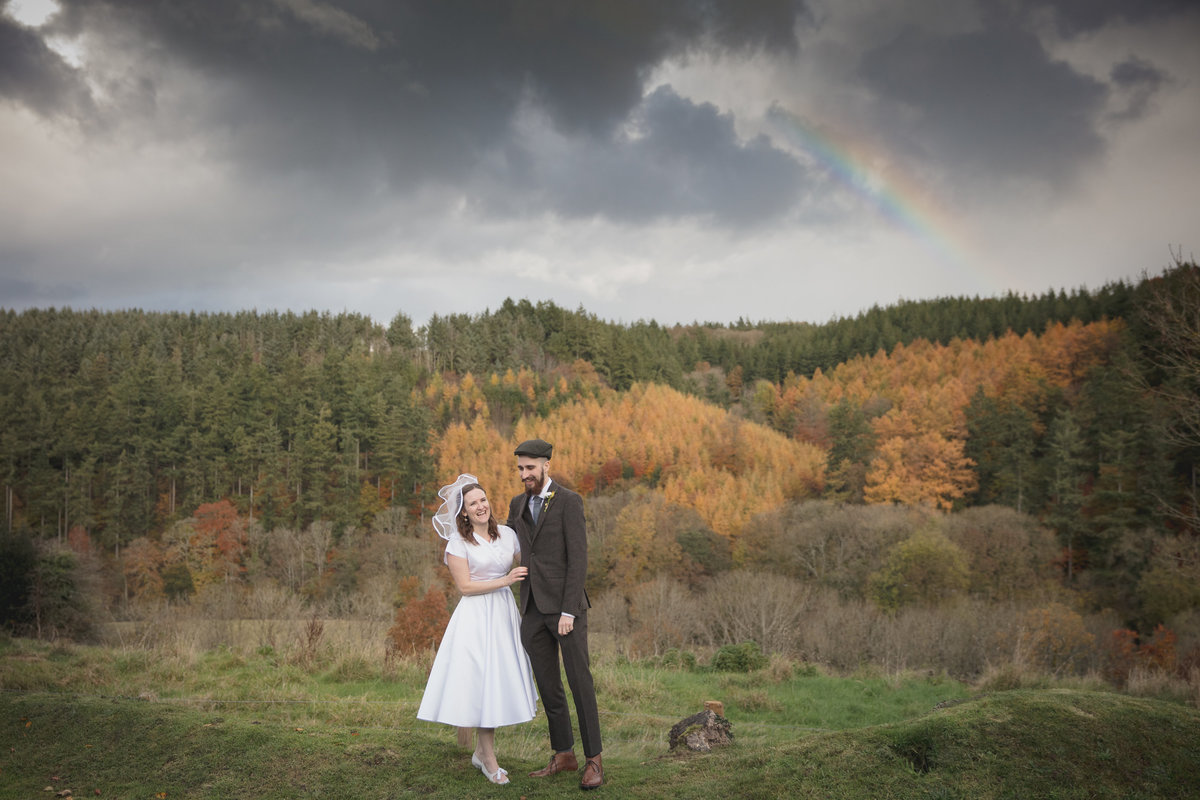 devon wedding photography with rainbow