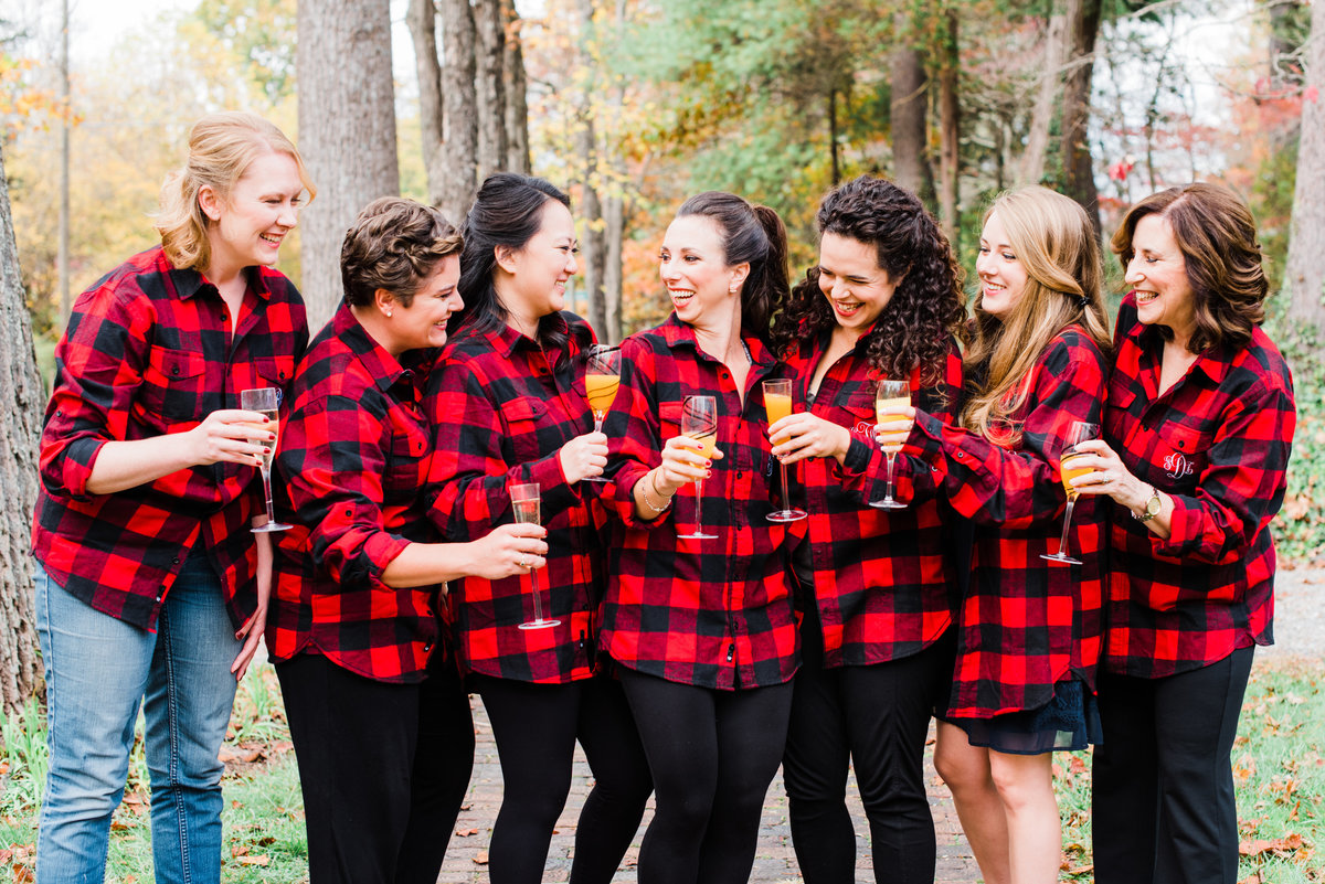 matching plaid bridesmaids shirts photo