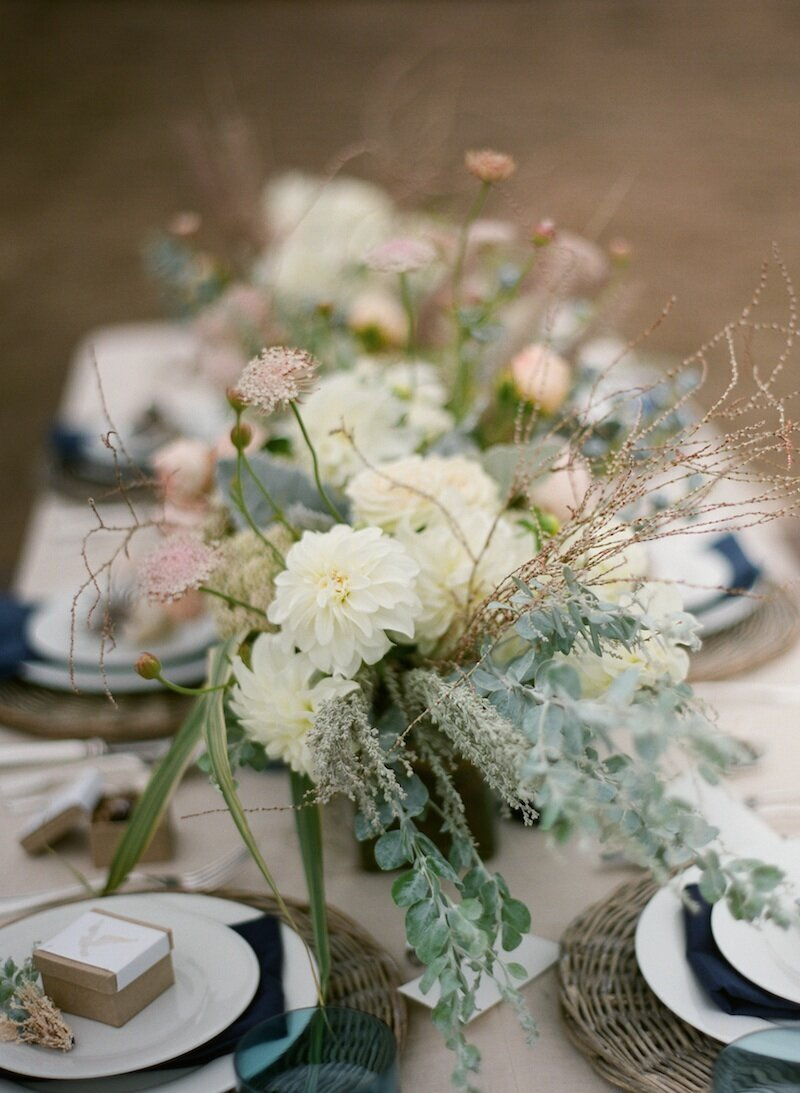 flowers on long wood table
